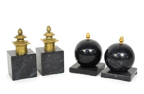 Two Pair Marble & Bronze Table Ornaments