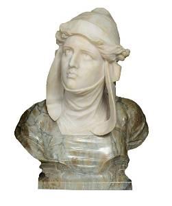 Large Marble Bust by Professor Giuseppe Bessie (Besji)