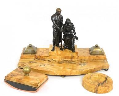 Large Marble & Bronze Desk Set