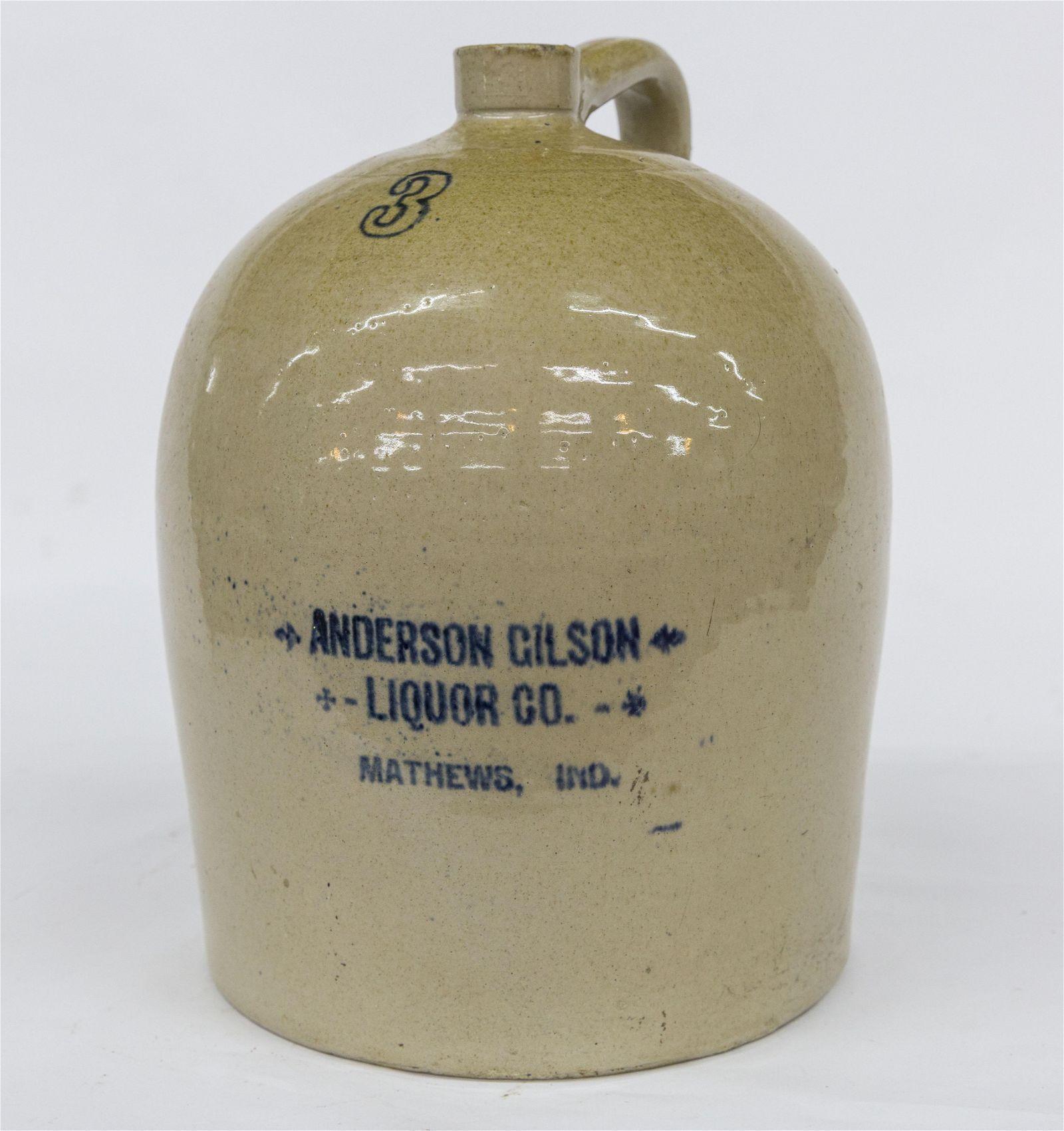 Anderson Gilson Liquor Co. Stoneware Jug
