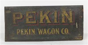 Early Wooden Pekin Wagon Co. Sign