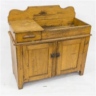 Early Dry Sink With Old Mustard Paint
