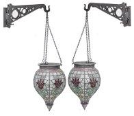 Pair Rare Leaded Glass Show Globes