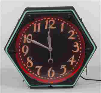 Two Color Neon Octagonal Hanging Clock