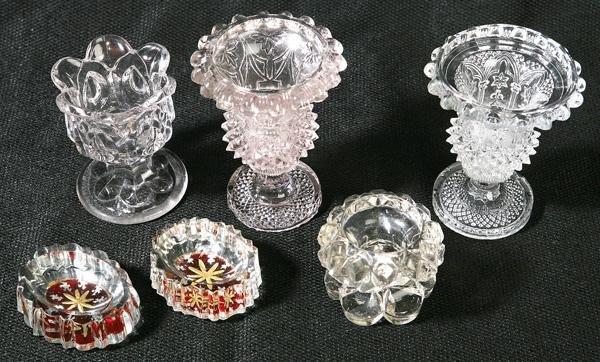 10: SIX EARLY LACY & PATTERN GLASS SALTS