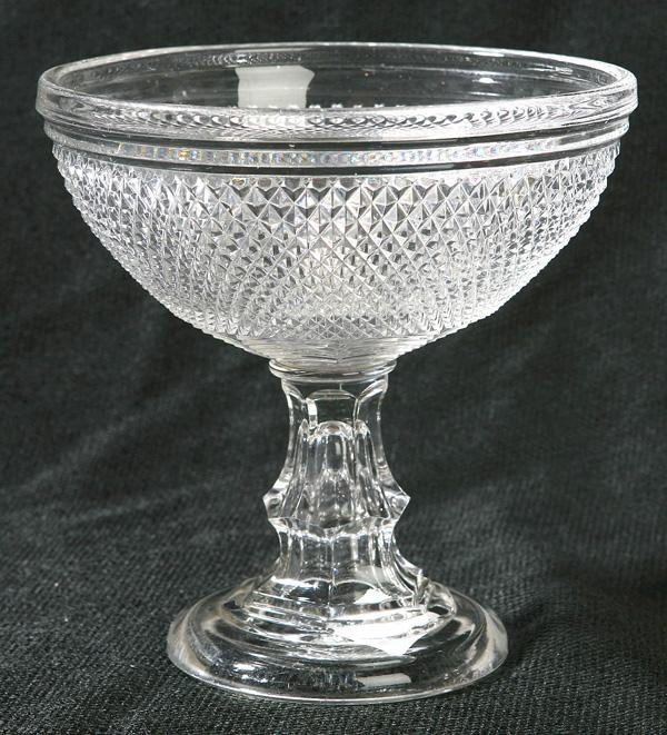 16: AMERICAN SAW TOOTH CUT GLASS FOOTED BOWL