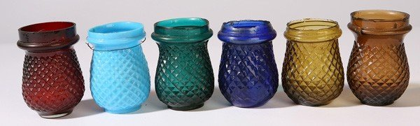 17: 6 EARLY GLASS CHRISTMAS CANDLE LANTERNS