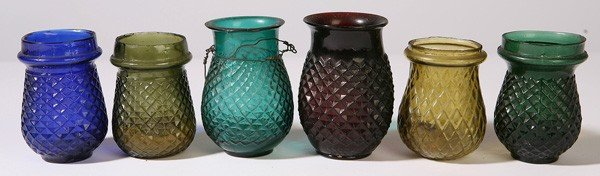 18: 6 EARLY GLASS CHRISTMAS CANDLE LANTERNS