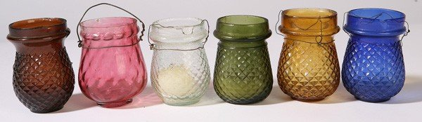 19: 6 EARLY GLASS CHRISTMAS CANDLE LANTERNS