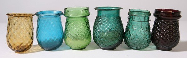 20: 6 EARLY GLASS CHRISTMAS CANDLE LANTERNS