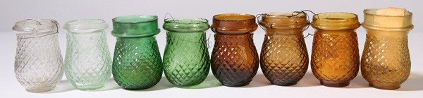 21: 8 EARLY GLASS CHRISTMAS CANDLE LANTERNS