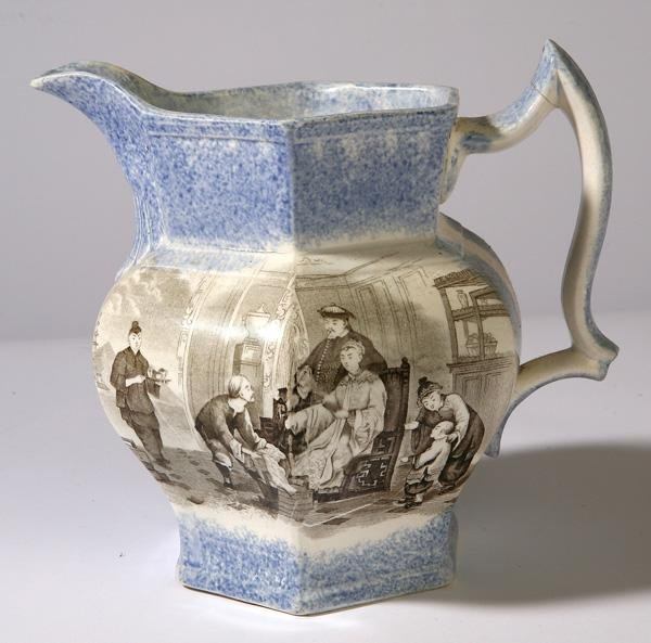 24: EARLY BLUE SPATTERWARE PITCHER