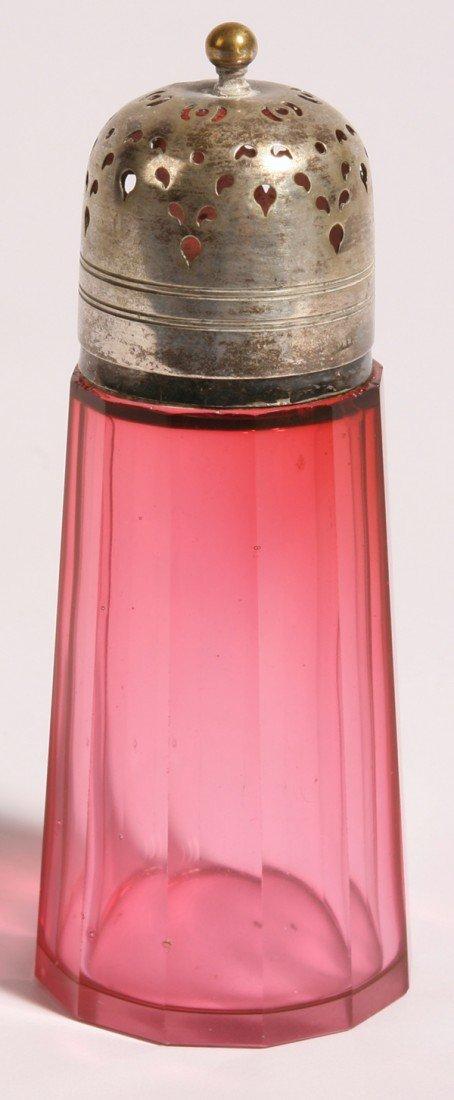 3: CRANBERRY CUT GLASS SUGAR SHAKER