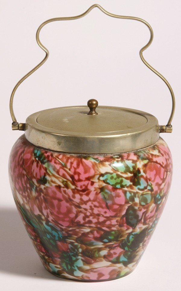 12: VICTORIAN ART GLASS BISCUIT JAR