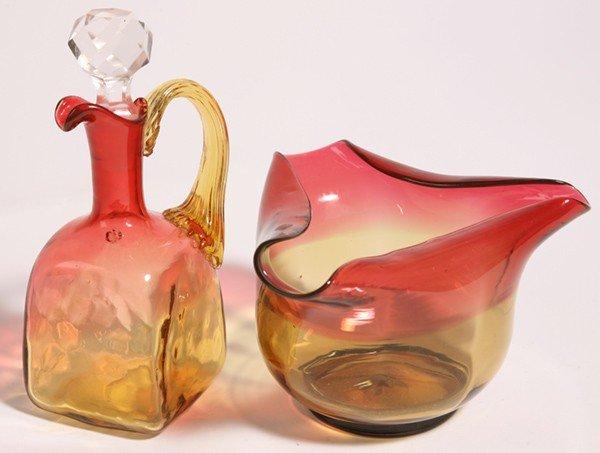 20: TWO PCS. OF AMBERINA GLASS