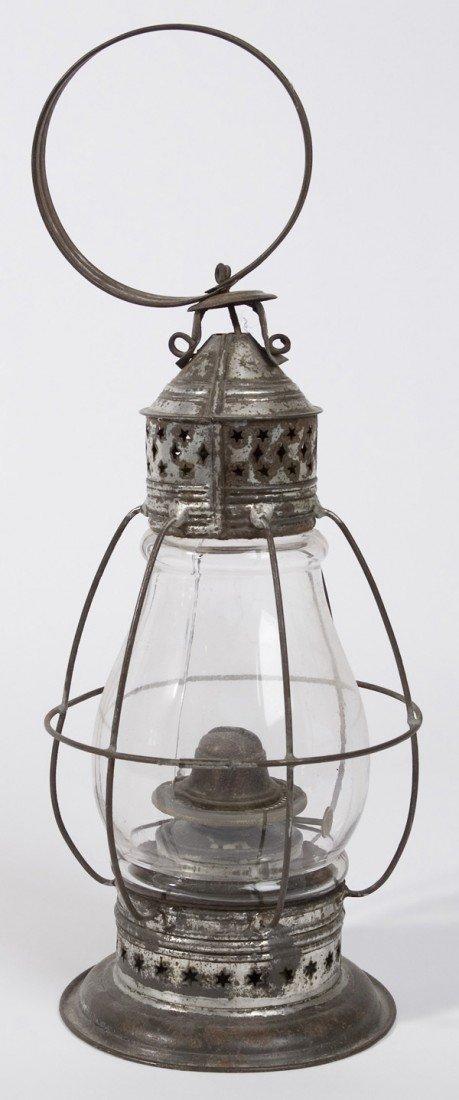 1: EARLY TIN & GLASS LANTERN