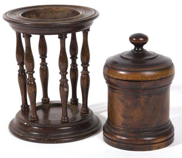 4: MAHOGANY BURL WOODEN BOX & HOUR GLASS HOLDER