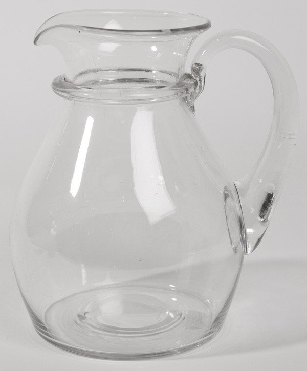 6: EARLY FREE HAND GLASS PITCHER