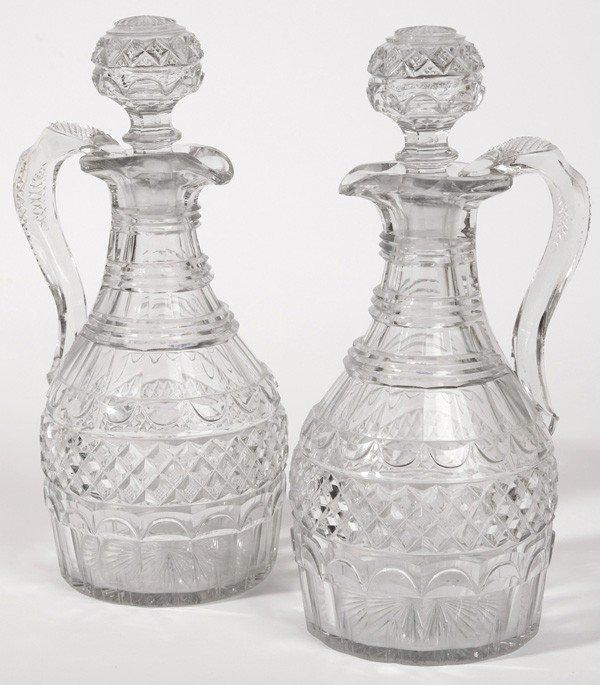 8: PR. OF EARLY CUT GLASS WHISKEY JUGS