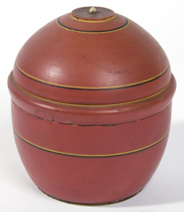 11: 19TH CENTURY COVERED TREEN BOX W/ OLD RED PAINT