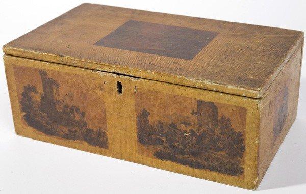 12: 19TH CENTURY PAINT DECORATED DOCUMENT BOX