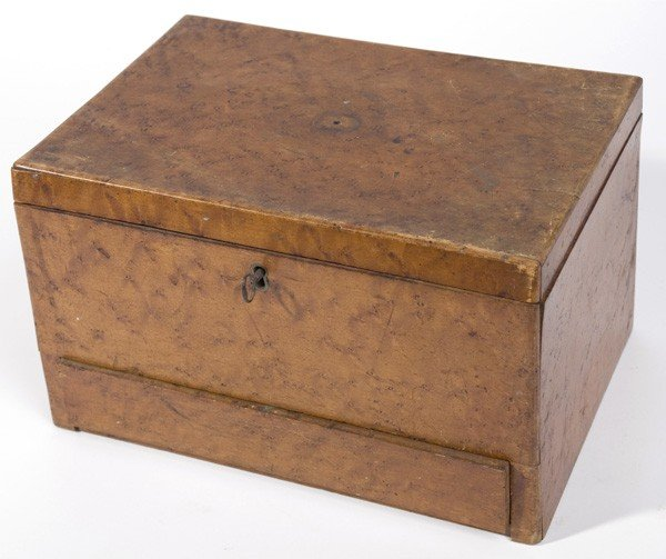 13: 19TH CENTURY FIGURED MAPLE SEWING BOX