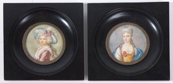 18: TWO SIGNED PAINTINGS ON IVORY