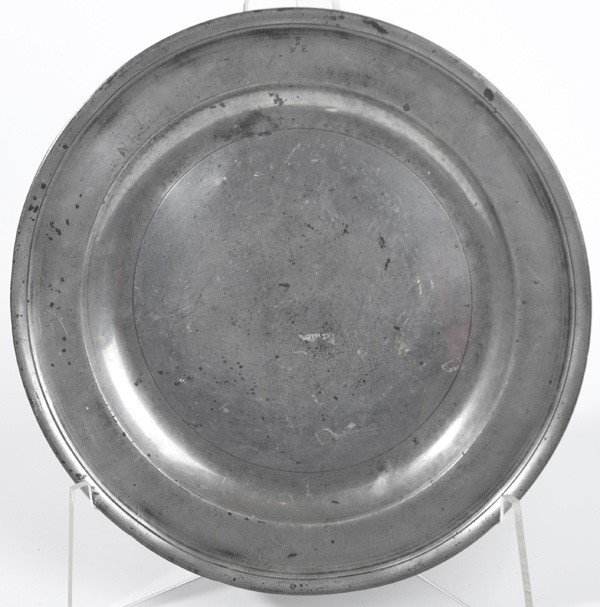 """22: EARLY PEWTER CHARGER MKD. """"SWE"""""""