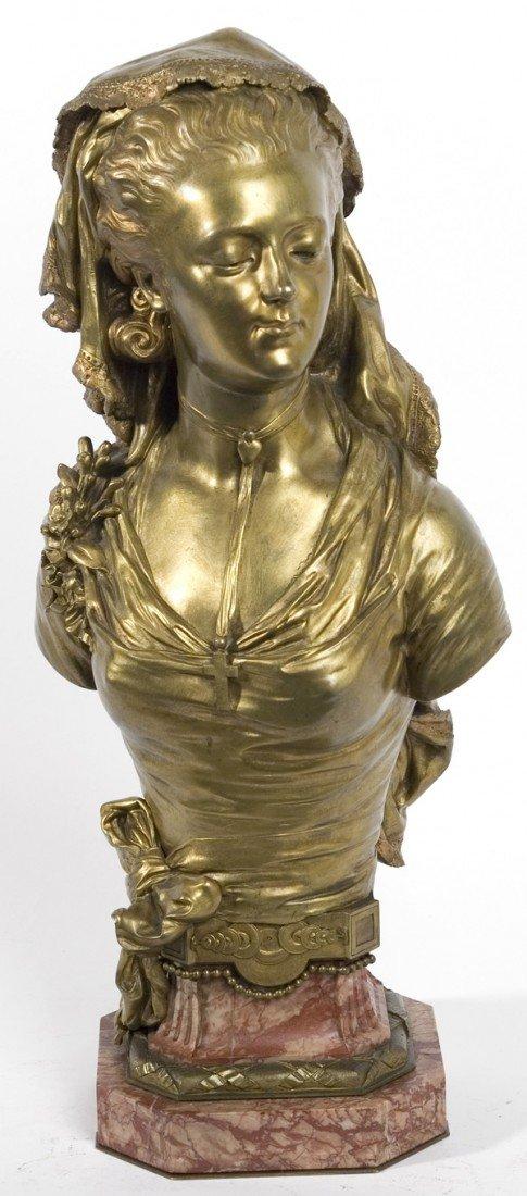 137: M. DE GHEEST BRONZE SCULPTURE OF YOUNG LADY