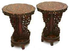 281: PR. OF GREAT CHINESE CARVED AND INLAID STANDS