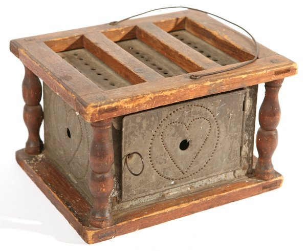 5: ANTIQUE FOOT WARMER W/PUNCHED HEART DESIGN