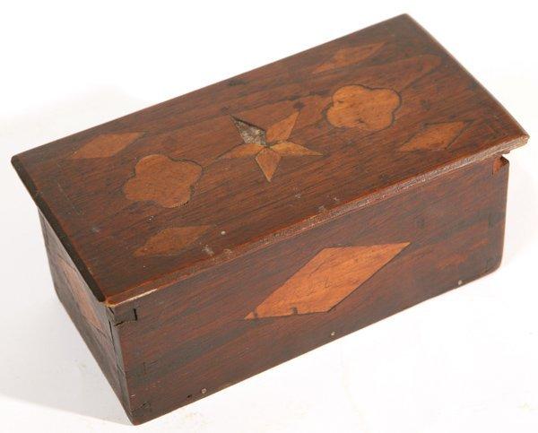 12: WALNUT INLAID DOVETAILED SLIDING LID BOX