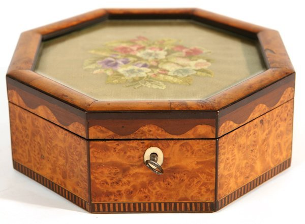 13: GREAT FIGURED AND INLAID WOOD SEWING BOX