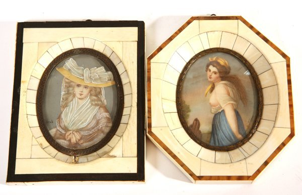 15: TWO MINIATURE PAINTINGS ON IVORY OF YOUNG LADIES