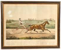 81 LARGE FOLIO 1853 CURRIER  IVES HORSE RACING PRINT