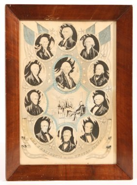 N. CURRIER PRINT OF THE PRESIDENTS OF THE UNITED ST
