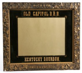 OLD CAPITOL BOURBON REVERSE PAINTED SIGN