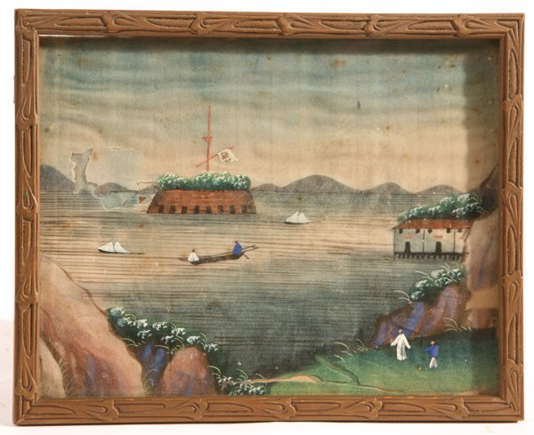 96A: 19TH CENTURY CHINESE TRADE PAINTING ON RICE PAPER