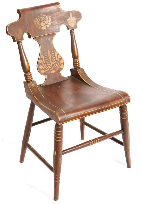 134: CIRCA 1840-1850 PAINT DECORATED & STENCILED CHAIR