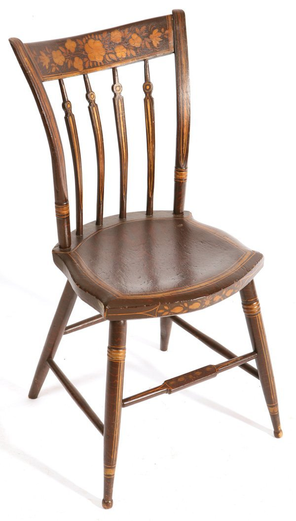 137: ANTIQUE PAINT DECORATED PA. ARROW BACK CHAIR
