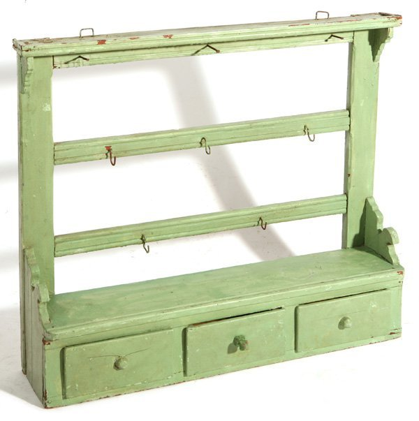 138: 19TH CENTURY WALL RACK WITH GREEN PAINT