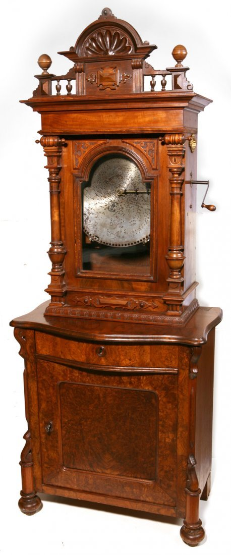 """215: GERMAN UPRIGHT 15 3/4"""" DISC MUSIC BOX ON STAND"""