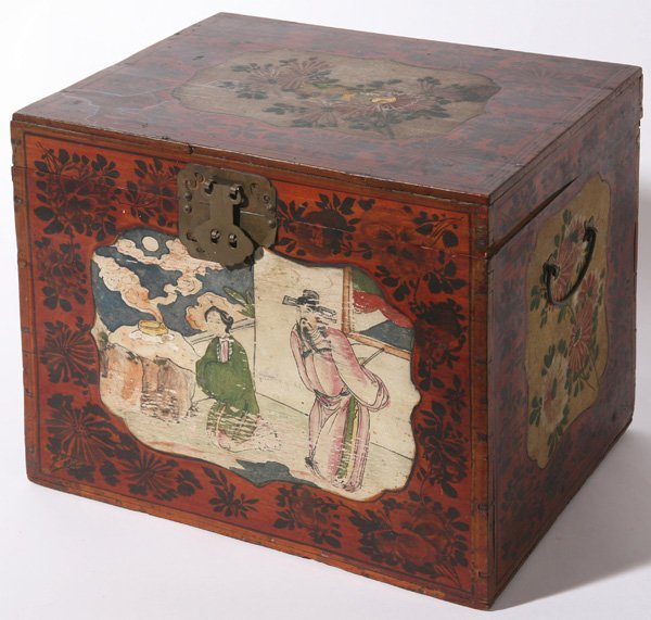 9: EARLY PAINT DECORATED CHINESE WOODEN BOX