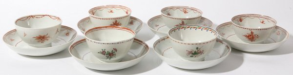11: SIX 19TH CENTURY CHINESE EXPORT CUPS & SAUCERS