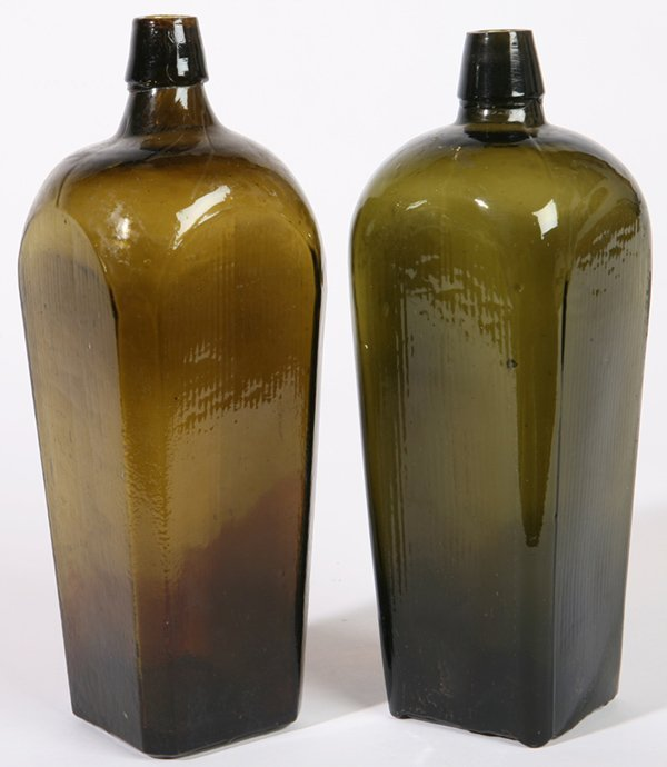 16: TWO OLIVE GREEN GIN BOTTLES