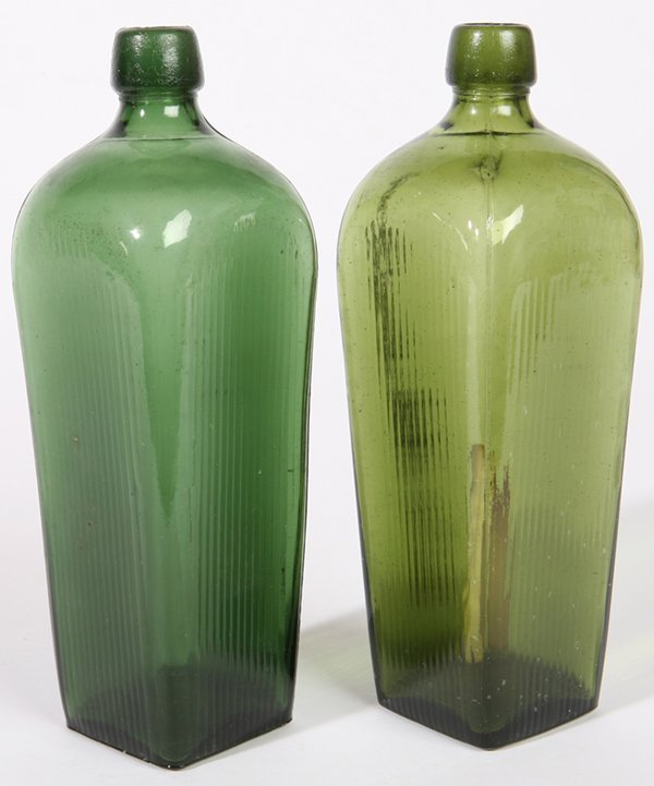 17: TWO GREEN GIN BOTTLES