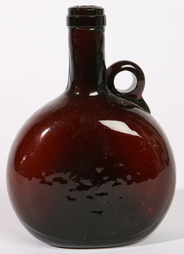 18: DEEP AMBER HANDLED FLASK