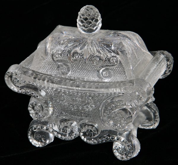 23: EARLY SANDWICH  LACY GLASS LIDDED SALT