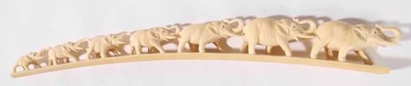 316: CHINESE CARVED IVORY ELEPHANT BRIDGE