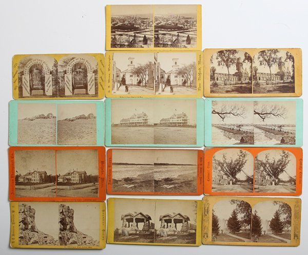 13 EARLY MASS. ALBUMEN PHOTO STEREOVIEWS